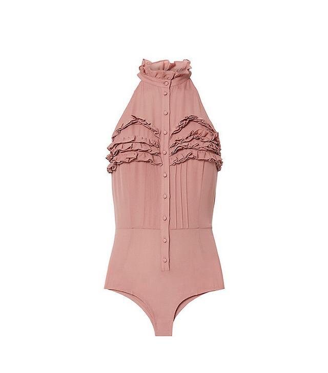 Fleur du Mal Ruffled Silk Bodysuit