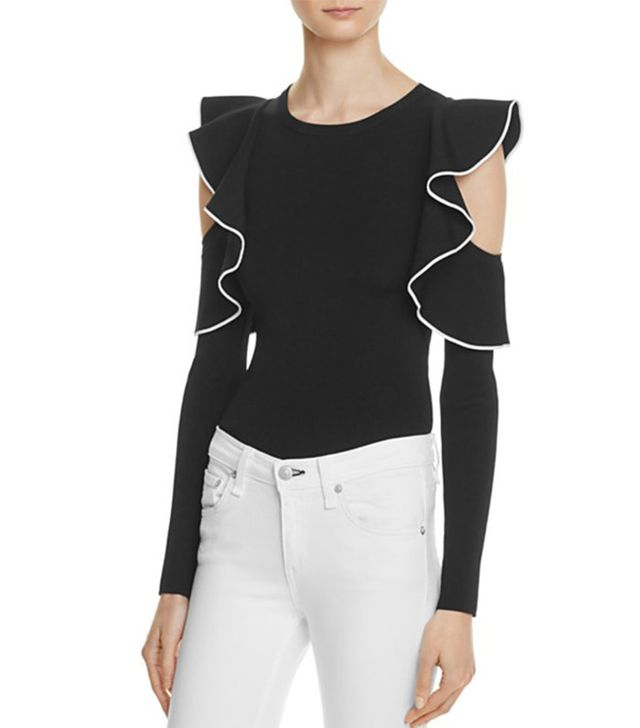 Whistles Ruffle Cold-Shoulder Top
