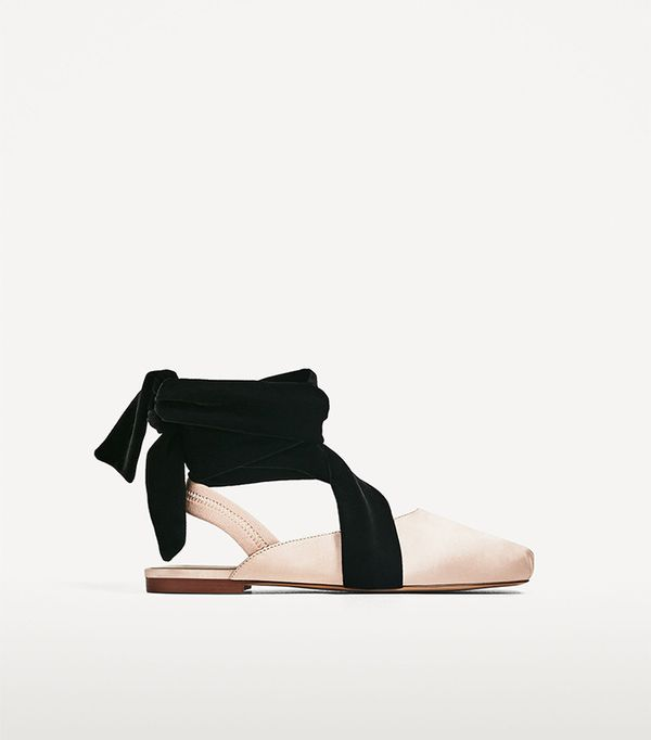 Zara Slingback Ballerinas With Sateen Ribbons