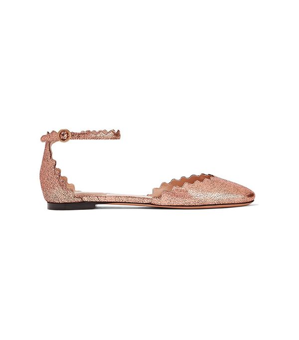 Chloé Scalloped Metallic Cracked-Leather Ballet Flats