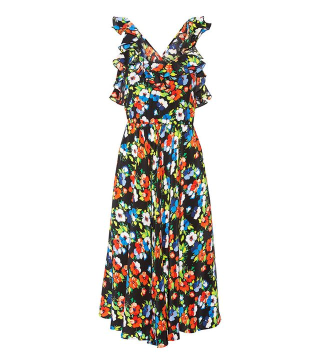 MSGM Ruffled Floral-Print Silk Midi Dress
