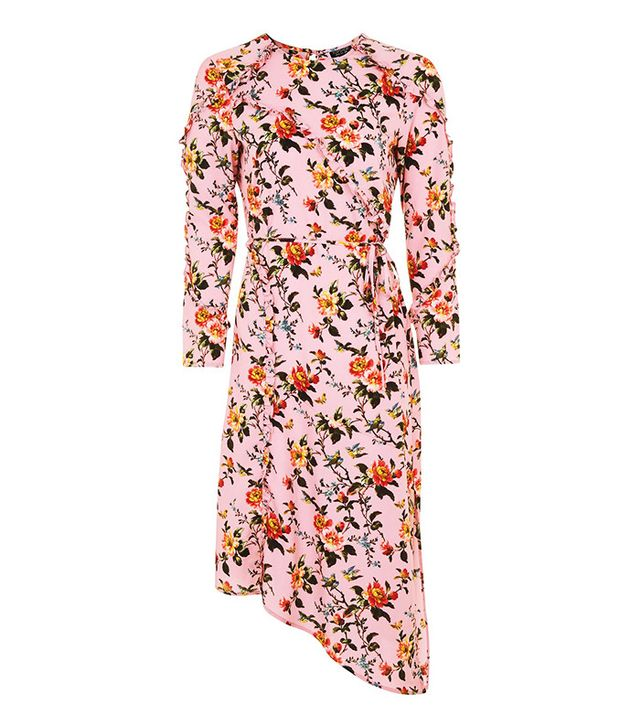 Topshop Floral Ruffle Midi Dress