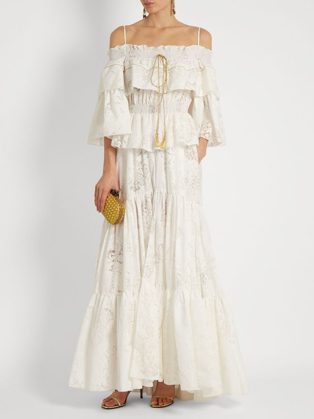 Roberto Cavalli Floral-Devoré Tiered-Ruffled Cotton-blend gown