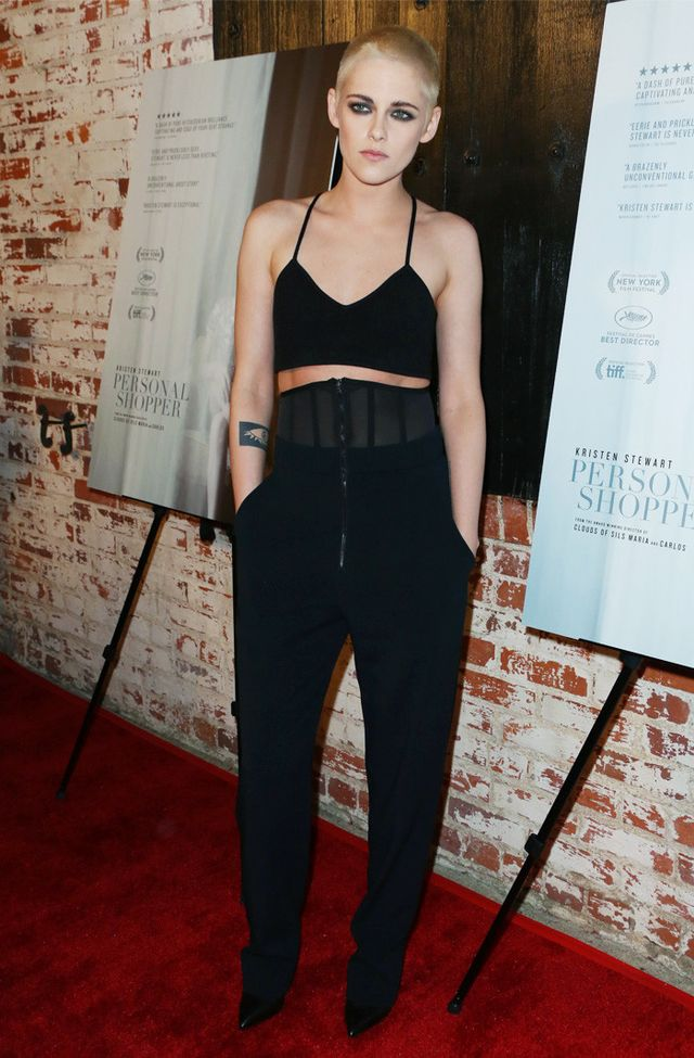 On Kristen Stewart: A.L.C. top; Sally LaPointe trousers.