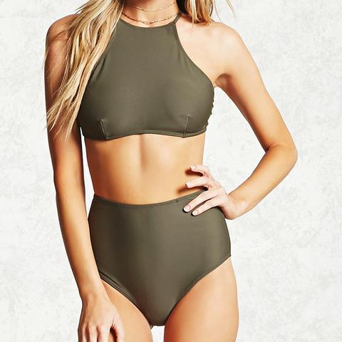 Crisscross High-Neck Bikini Top