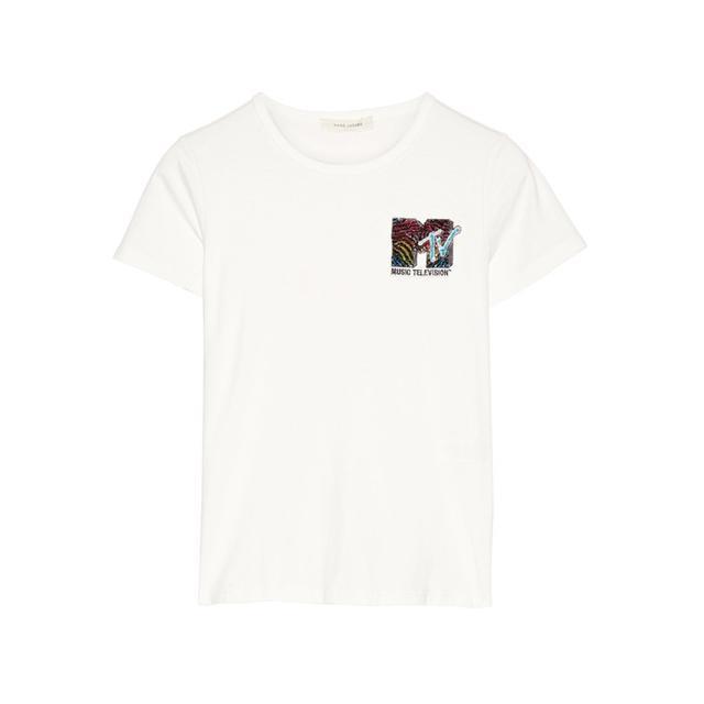 Marc JacobsAppliquéd Cotton-Jersey T-Shirt We love the '90s.