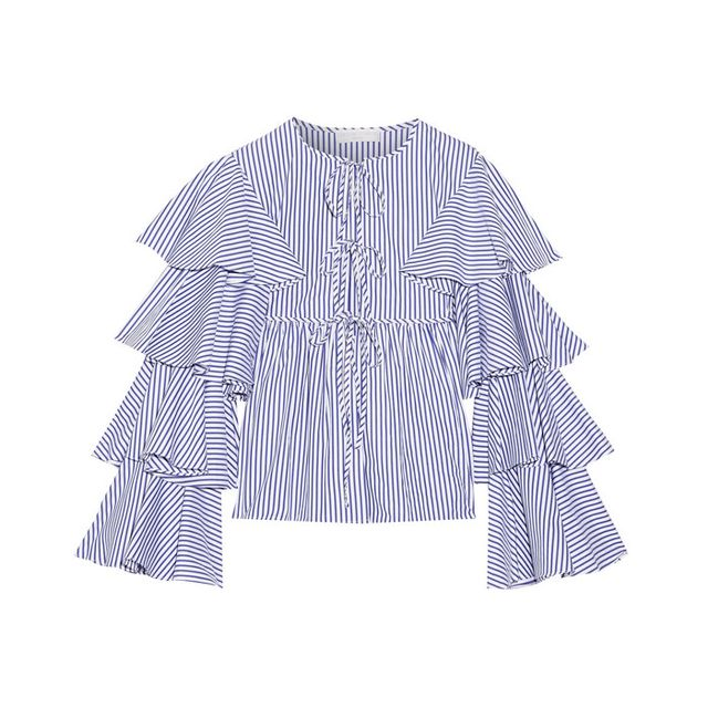 Caroline ConstasNina Ruffled Striped Cotton Oxford Jacket Statement sleeves aren't going anywhere.