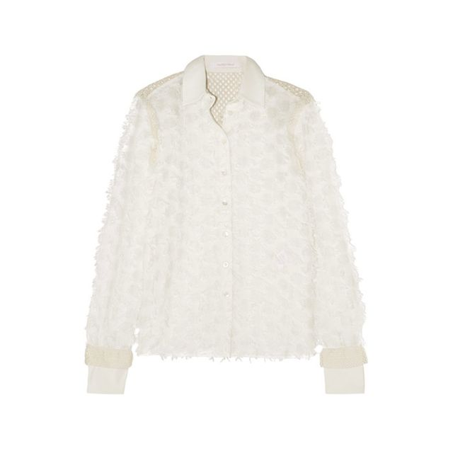 See by ChloéCrochet-Paneled Fil Coupé Cotton Shirt Pairwith high-waisted denim tonail off-duty chic.