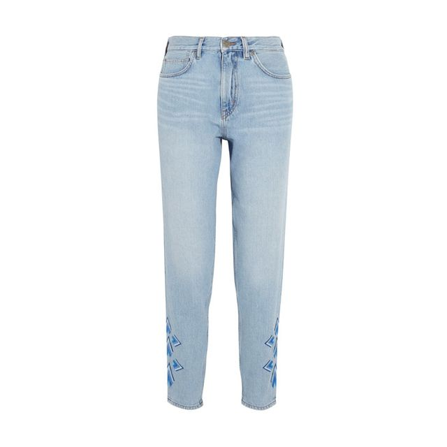 M.i.h JeansLinda Cropped Embroidered High-Rise Straight-Leg Jeans With a high rise up top and an embroideryparty down below, everything about these jeans is working for spring.