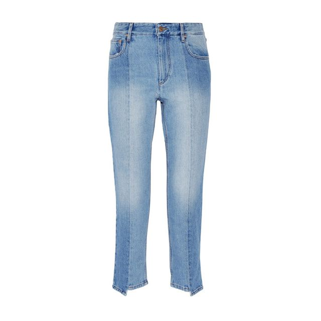 Étoile Isabel MarantClancy Cropped High-Rise Straight-Leg Jeans A step hem doesn't have to mean raw edge.