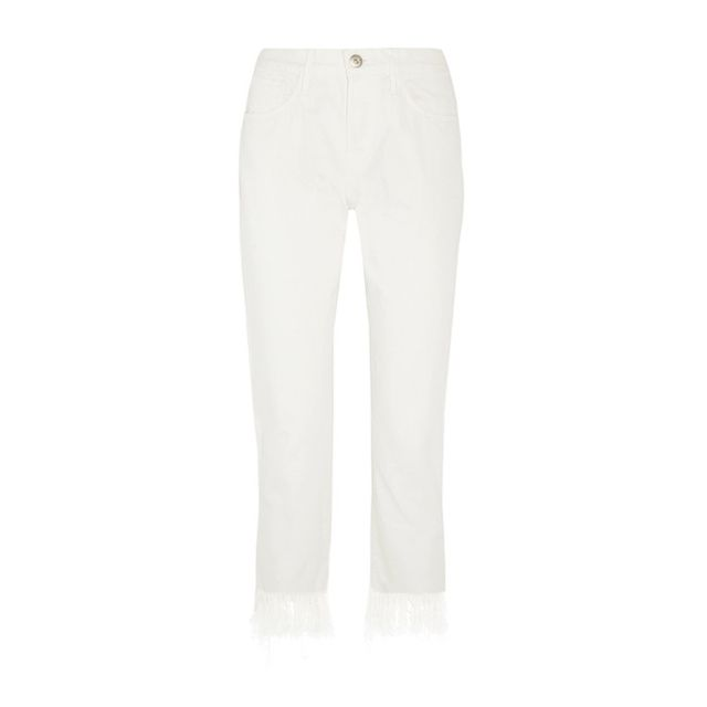 3X1WM3 Crop Fringe Mid-Rise Straight-Leg Jeans This dramatic fray will be perfect with this season's brightslides.
