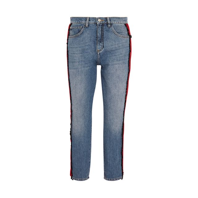 Victoria, Victoria BeckhamNeat Cropped Stripe-Trimmed Slim Boyfriend Jeans If you're a sucker forjeans and a classic white tee, consider thistrim the perfectupgrade...