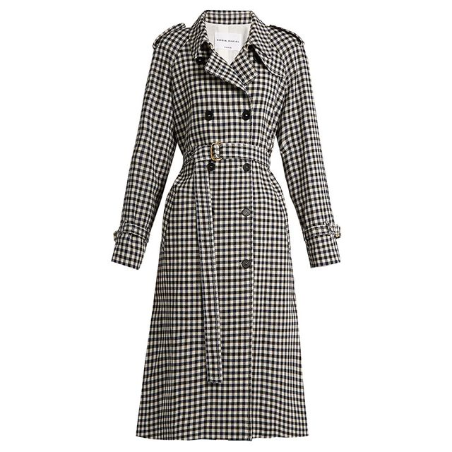 Sonia Rykiel Gingham Wool Trench Coat