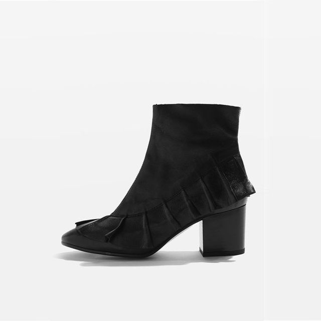 Topshop MILLY Black Frill Ankle Boots