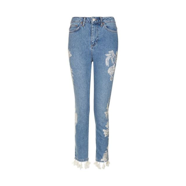 Topshop MOTO Embroidered Straight Leg Jeans with Tassles