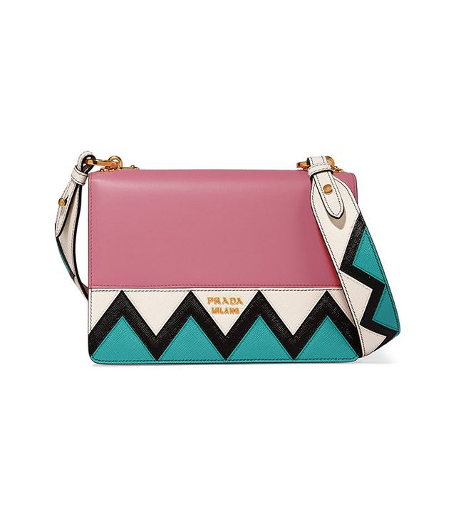 Prada Zig Zag Leather Shoulder Bag