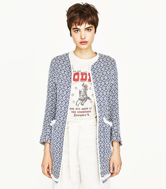 Zara Frayed Printed Coat