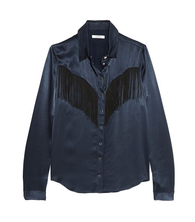 Ganni Donnelly Fringed Satin Shirt