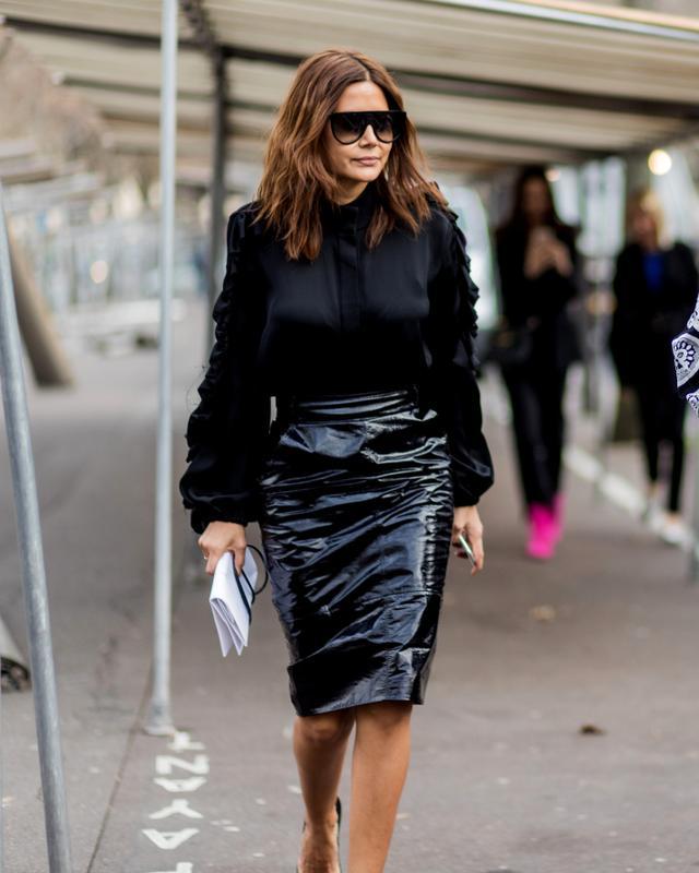 Christine Centenera Black Shirt and Patent Skirt