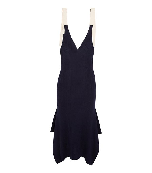 T by Alexander Wang Cotton-Trimmed Ribbed Merino Wool Midi Dress