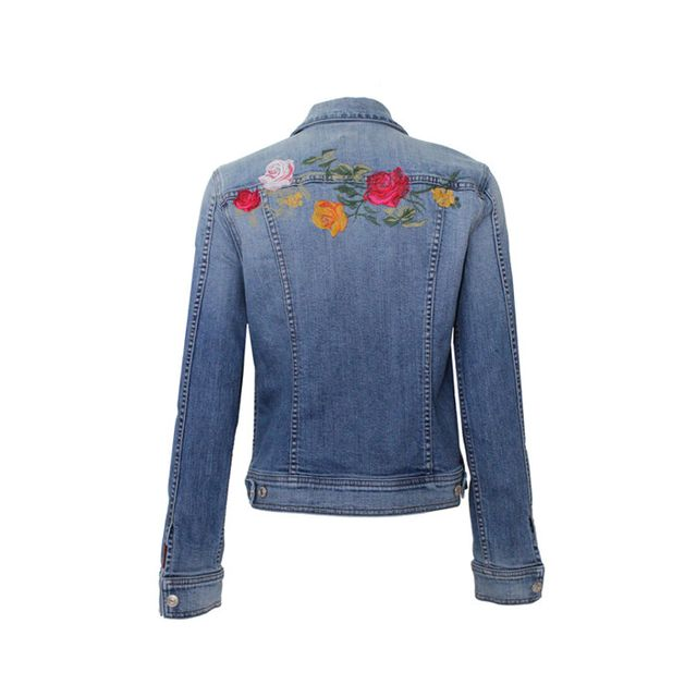7 for All Mankind Rose Garden Embroidered Denim Jacket
