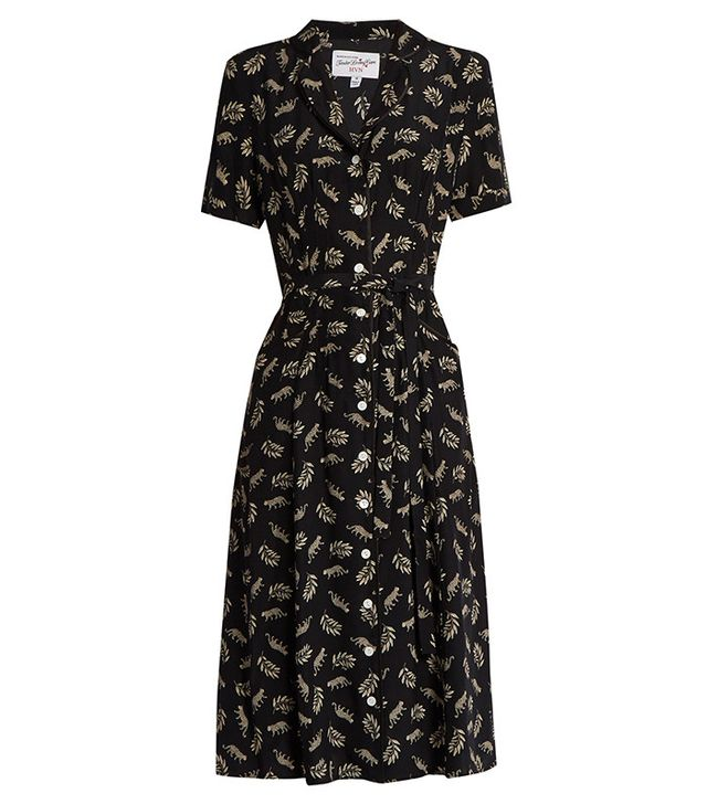 HVN Maria Leopard-Print Silk Dress