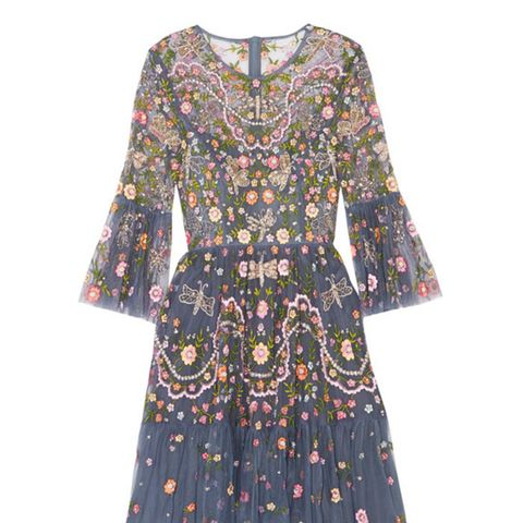 Dragonfly Garden Embellished Embroidered Tulle Mini Dress
