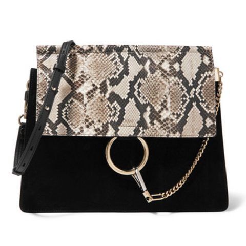 Faye Medium Python, Suede and Leather Shoulder Bag