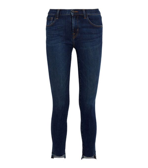 Best-Sellers on Net a Porter: J Brand 811 Frayed Mid-Rise Skinny Jeans