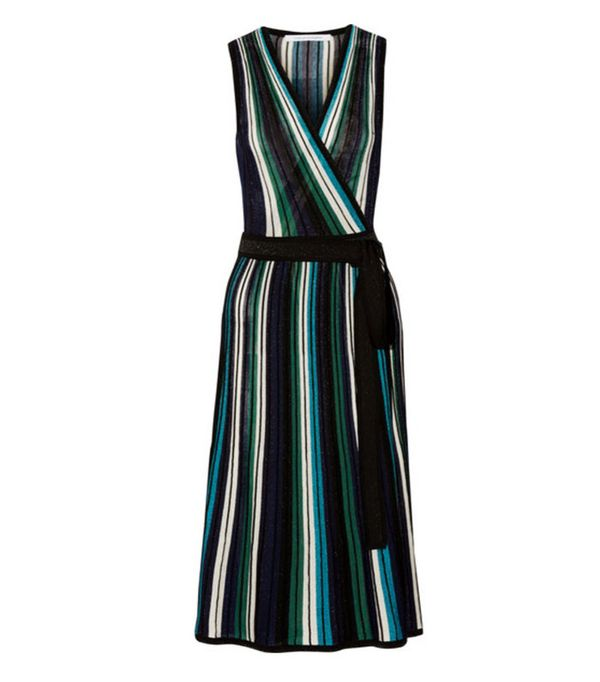 Best-Sellers on Net-a-Porter: Diane von Furstenberg Cadenza Metallic Stretch-Knit Wrap Dress