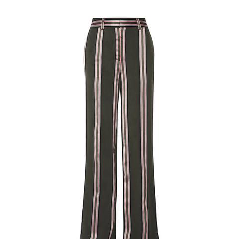 Striped Satin-Trimmed Twill Wide-Leg Pants