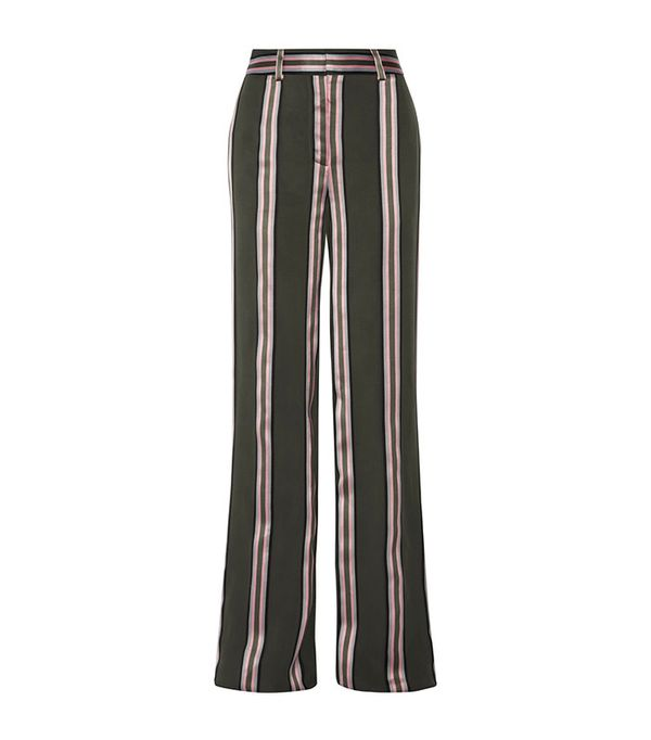 Adam Lippes Striped Satin-Trimmed Twill Wide-Leg Pants