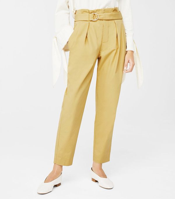 Mango Belt Cotton-Blend Pants