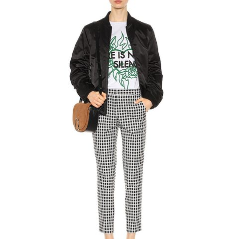 Checked Cotton-Blend Trousers