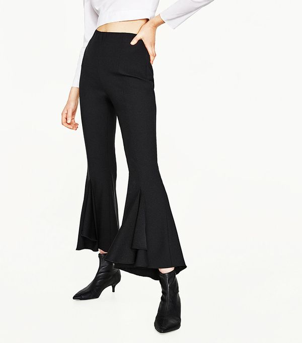 Zara Frilly Crepe Trousers