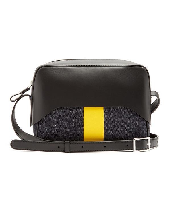 Tibi Garçon Leather and Denim Crossbody Bag