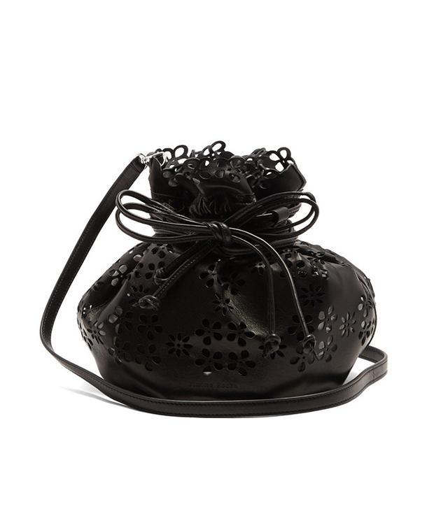 Simone Rocha Laser-Cut Flower Leather Bucket Bag
