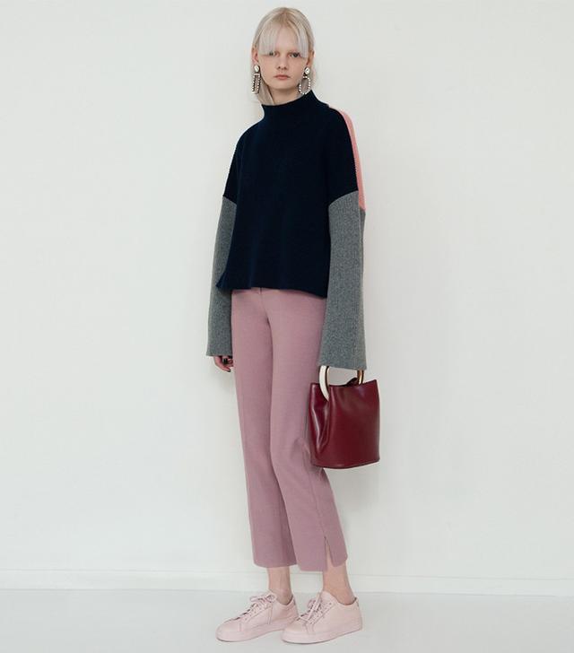Frankie Navy Mock Neck Colorblock Sweater