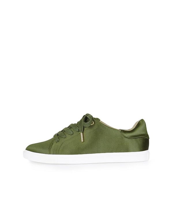Topshop Catseye Satin Lace Up Trainers