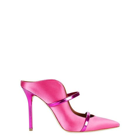 Maureen Double Strap Pink Satin Mules