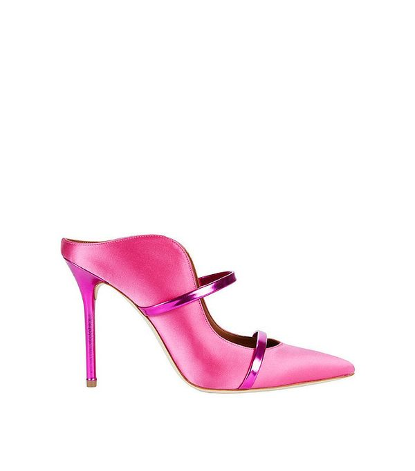 Malone Souliers Maureen Double Strap Pink Satin Mules