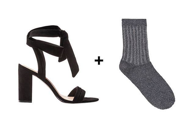 SHOP: Who What Wear Michaela Block Heels Quarter Strap Sandals ($33) + COS Sheer Detail Glitter Socks ($9)