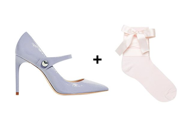 SHOP: Zara Patent Finish High Heel Shoes with Strap ($50) + ASOS Bow Strap Ankle Socks ($7)
