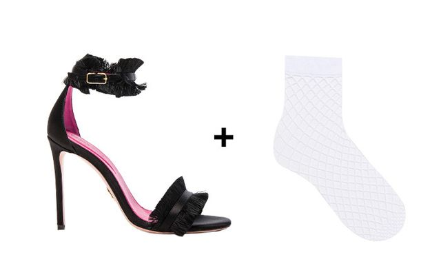SHOP: Oscar Tiye Satin Caroline Sandals ($680) + ASOS Oversized Fishnet Ankle Socks in White ($7)