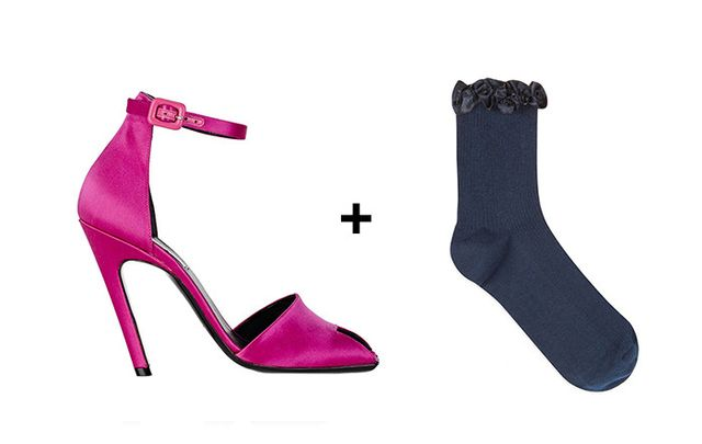 SHOP: Balenciaga Broken-heels Satin Sandals ($695) + Topshop Satin Trim Ankle Socks ($6)