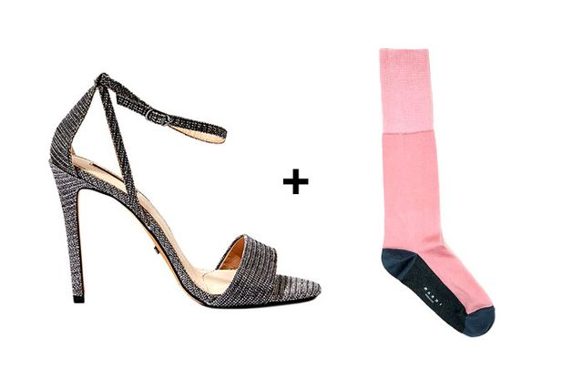 SHOP: Topshop Raphael Sandals ($75) + Marni Colorblock Sock ($88)