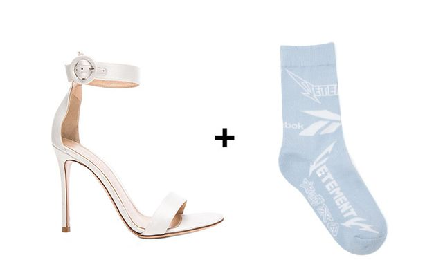 SHOP: Gianvitto Rossi Satin Portofino 85 Heels ($815) + Vetements Short Metal Socks ($85)