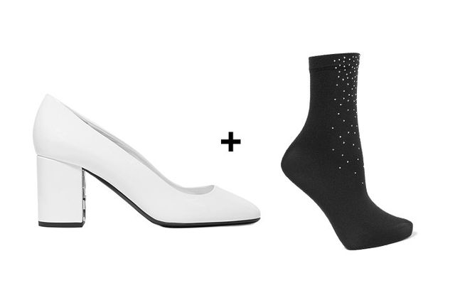 SHOP: Burberry Patent-Leather Pumps ($575) + Wolford Ryssa Crystal-Embellished Socks ($60)
