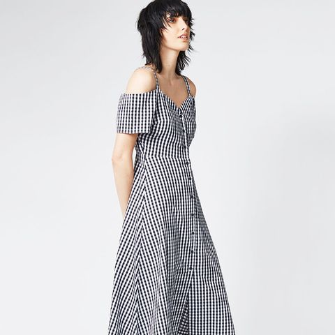 Gingham Button-Front Dress