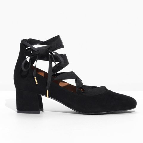 Suede Lace Up Ballet Pump